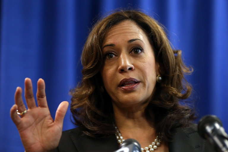 <p>California Attorney General Kamala Harris speaks to reporters after California Governor Jerry Brown signed the California Homeowner Bill of Rights (AB 278 and SB 900) on July 11, 2012 in San Francisco, California.</p>