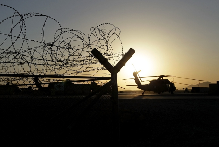 <p>A US Army helicopter at Kandahar Air Field on June 17, 2010.</p>