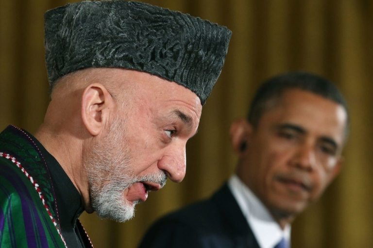 <p>U.S. President Barack Obama and Afghan President Hamid Karzai speak to the media during a joint news conference January 11, 2013 in Washington, DC.</p>