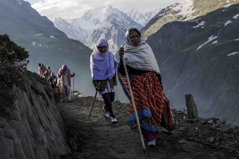 <p>Hindu pilgrims walk along a mountain path as they make their pilgrimage to the sacred Amarnath Cave, one of the most revered Hindu shrines, on June 30, 2012 near Baltal, Kashmir, India. Kashmiri separatist groups recently welcomed tourists to visit the beleaguered region, in a significant shift. But now conservatives are calling for a dress code to make sure foreigners honor local customs.</p>