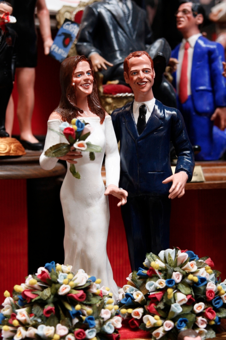 <p>Crib figurines showing Prince William and Catherine Middleton in their wedding apparels on display ahead of the much-anticipated royal wedding nearly a year ago.</p>