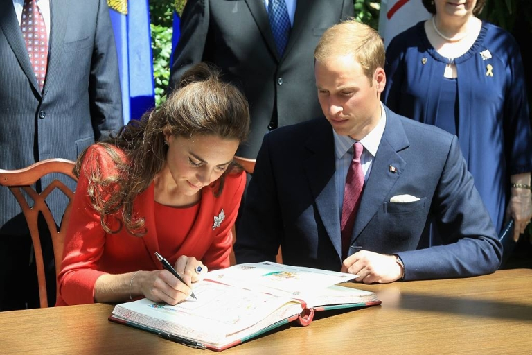 <p>Catherine, Duchess of Cambridge, and Prince William, Duke of Cambridge, signed the guestbook during a reception at the Calgary Zoo on July 8, 2011 in Calgary, Canada.</p>