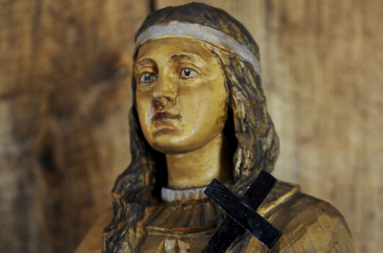 <p>A wooden statue of Kateri Tekakwitha, a 17th century Mohawk woman whom the Vatican will canonize this Sunday, October 21, 2012, seen in St. Peter's Chapel at the National Kateri Shrine in Fonda, New York. Kateri will become the first Native American saint in the Catholic church.</p>