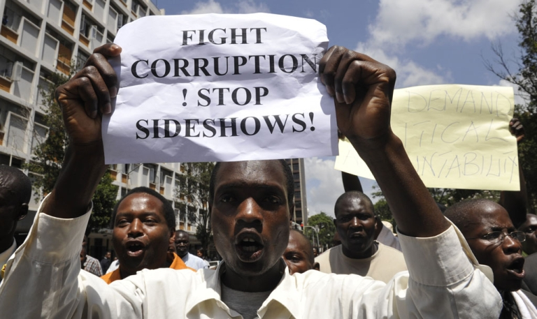 <p>Kenyans demonstrate against corruption on February 17, 2010 to vent their anger at a coalition government slowly falling apart over graft allegations and its inability to further key reforms pledged two years ago. Shouting