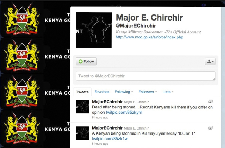 <p>Kenya military spokesman Major E. Chirchir posted graphic photos on his Twitter account that he said were of a Kenyan being stoned by Al Shabaab militants in Somalia.</p>