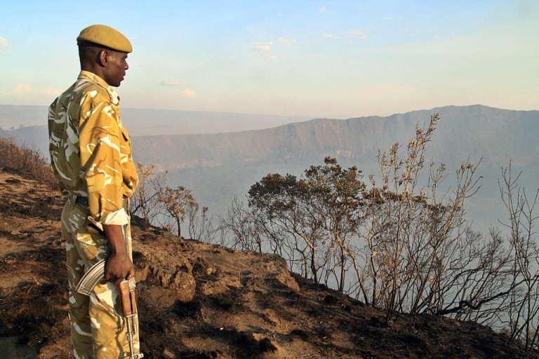 <p>A Kenya Wildlife Service, KWS, ranger inspects a section of Mt. Longonot National park, near the lakeside town of Naivasha in the Kenyan Rift Valley, March 22, 2009, that had been ravaged by a bushfire.  Today, Kenya's forest cover remains the starkest among East African countries, even in the hillsides of the Rift Valley.</p>