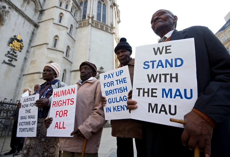 <p>Kenyan nationals, from right,  Wambugu wa Nyingi, Ndiku Mutua, Paulo Nzili and Jane Muthoni Mara, (L) outside the High Court in central London, on April 7, 2011. The four elderly Kenyans have won the right to sue the British government for brutality they claim they suffered at the hands of the British army during the 1950s Mau Mau uprising. They are hoping their cases, which include castration, torture, sexual abuse, forced labor and beatings, will secure a statement of regret over Britain's role in the Kenya Emergency, and a victims' welfare fund.</p>