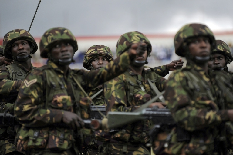 <p>Western military forces have joined the fight against Al Shabaab in Somalia, according to Kenyan officials. In this photo Kenyan troops march during
