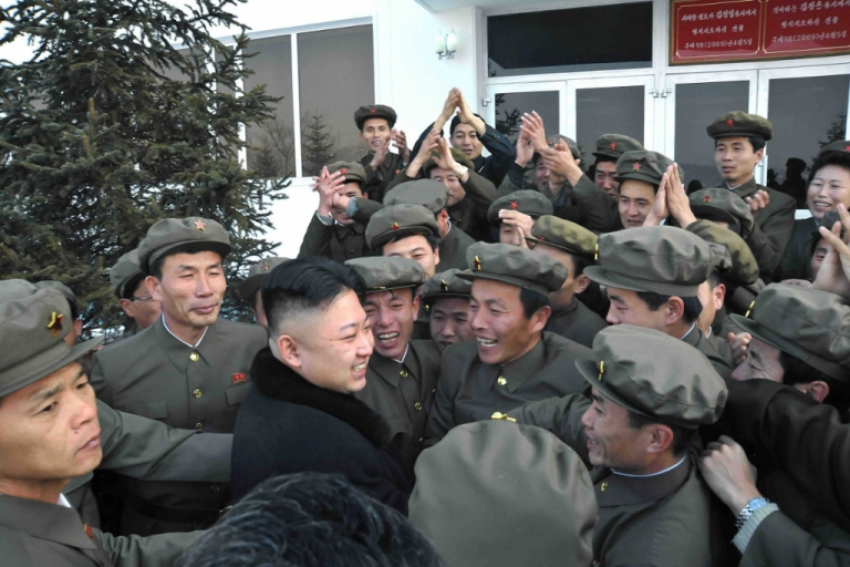 <p>North Korean leader Kim Jong-Un celebrates a rocket launch  Dec. 12, 2012 in North Korea. The North Korean nuclear and rocket programs have long overshadowed its abysmal human rights record.</p>