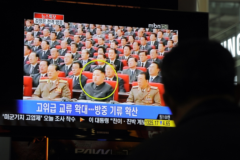<p>A South Korean man watches a TV newscast reporting the visit to China by North Korea's Kim Jong Un on May 20, 2011.</p>