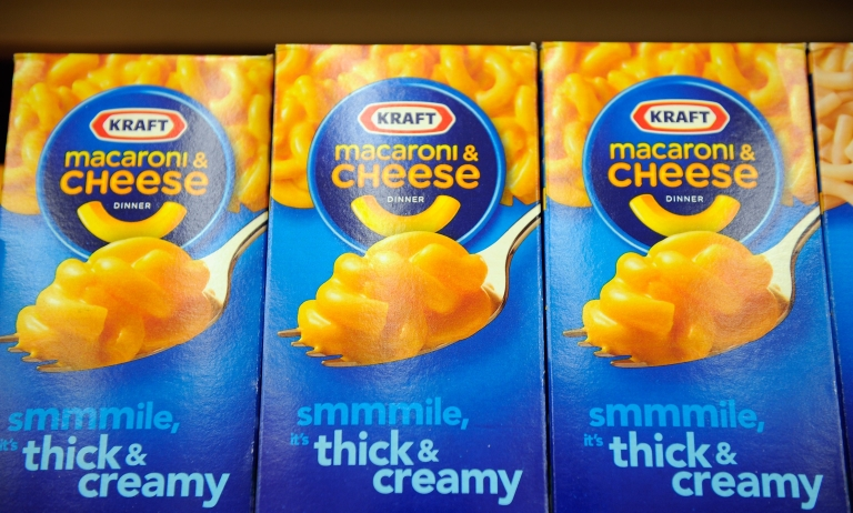 <p>Boxes of Kraft Macaroni &amp; Cheese sit on a store shelf in Los Angeles.</p>