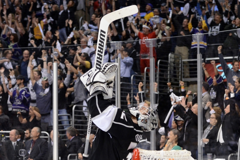<p>LA Kings goaltender Jonathan Quick celebrates against the New Jersey Devils in Game 6 of the Stanley Cup finals at Staples Center in Los Angeles on June 11, 2012.</p>
