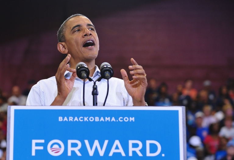 <p>US President Barack Obama speaks during a Labor Day campaign event September 3, 2012 at Scott High School in Toledo, Ohio.</p>