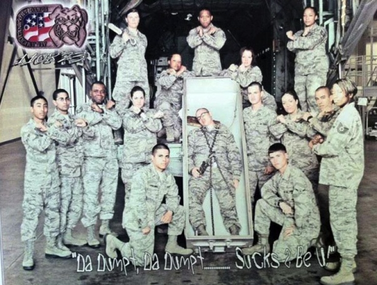 <p>Airmen at Lackland Air Force Base pose with a casket in a Facebook photo sent to Air Force Times.</p>