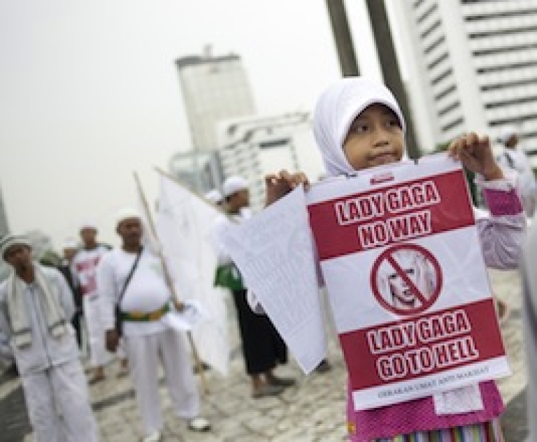 <p>Indonesian activists protest American pop diva Lady Gaga's upcoming concert in Jakarta on April 29, 2012. The country's Islamic religious figures have denounced her coming June 3 concert as an abomination.</p>