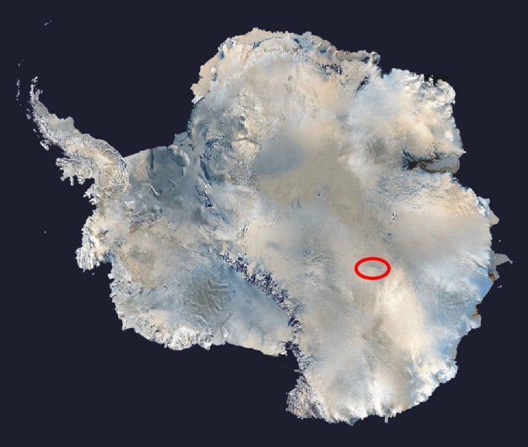 <p>This satellite picture shows Lake Vostok's location under the Antarctic ice sheet.</p>