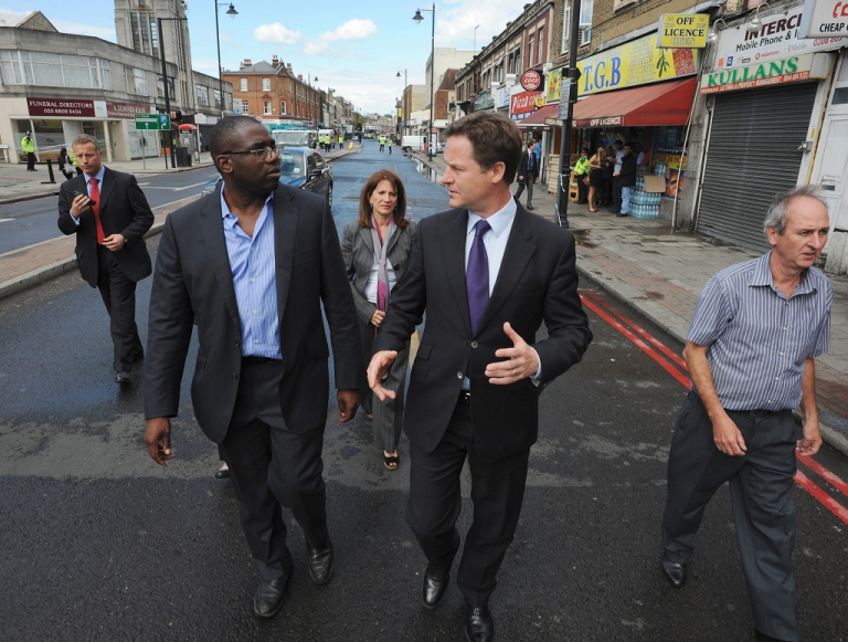 <p>David Lammy shows Deputy Prime Minister Nick Clegg around his Tottenham constituency the morning after riots burned out much of the main shopping area.</p>