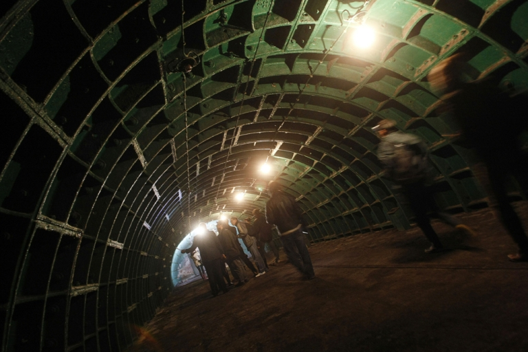 <p>Hungarian journalists explore a hall of the nuclear bunker about 40 meters deep underground below Budapest. Spike TV is launching a reality show called