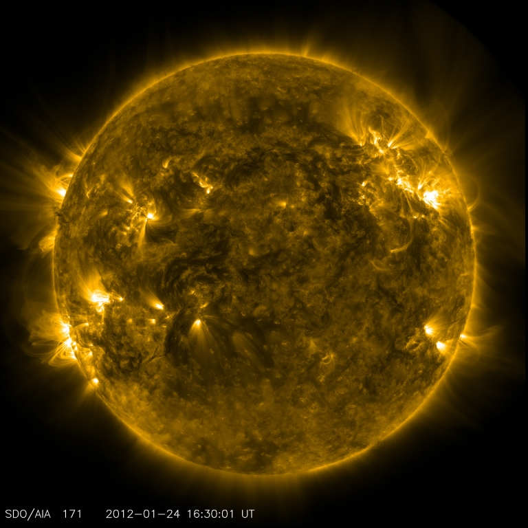 <p>This image taken by NASA's Solar Dynamics Observatory's AIA instrument shows the current conditions of the quiet corona and upper transition region of the Sun.</p>