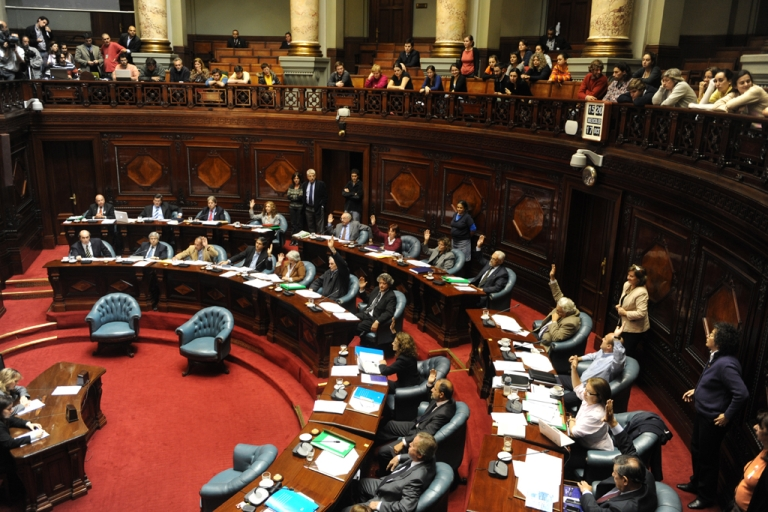 <p>The Uruguayan Senate passes the law legalizing abortion, in Montevideo, on Oct. 17, 2012. Uruguay became only the second country in mostly Catholic South America to legalize abortion when the Senate approved the bill with a vote of 17 to 14.</p>