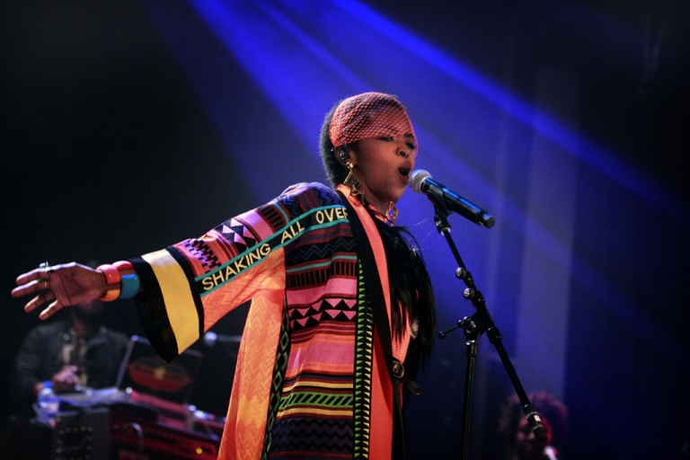 <p>Singer Lauryn Hill performs during a concert in Amsterdam on April 12, 2012.</p>