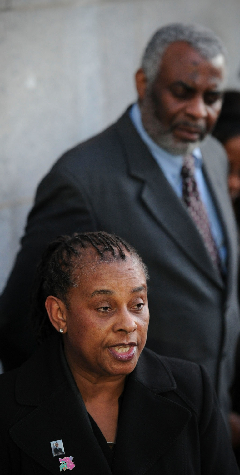 <p>Doreen and Neville Lawrence at the Old Bailey today after their son Stephen's killers were convicted - 18 years after his murder.</p>