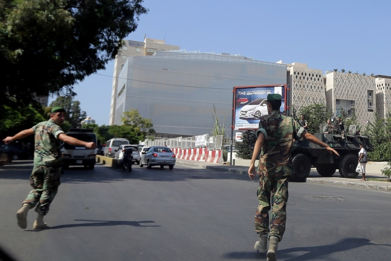 <p>Lebanese army soldiers secure the area around the French Medical Faculty, French consulate, cultural center and school in Beirut on September 19, 2012. France has ordered special security measures around its embassies and schools because of fears of a hostile reaction to a magazine's publication of cartoons of the Prophet Mohammed, the foreign ministry said.</p>