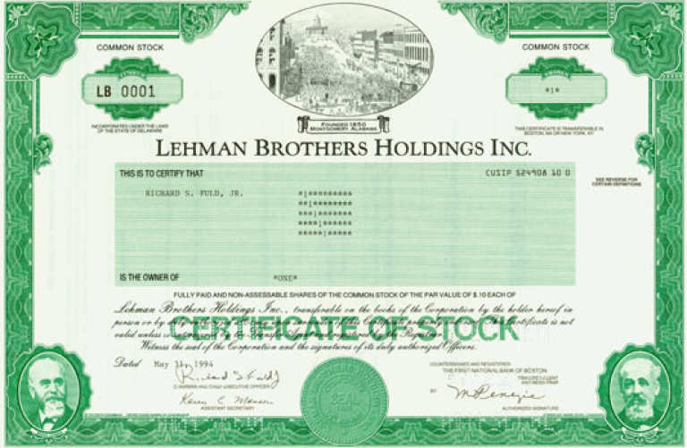 <p>Lehman Brothers share number 0001, issued in 1994 and sold at auction this weekend.</p>
