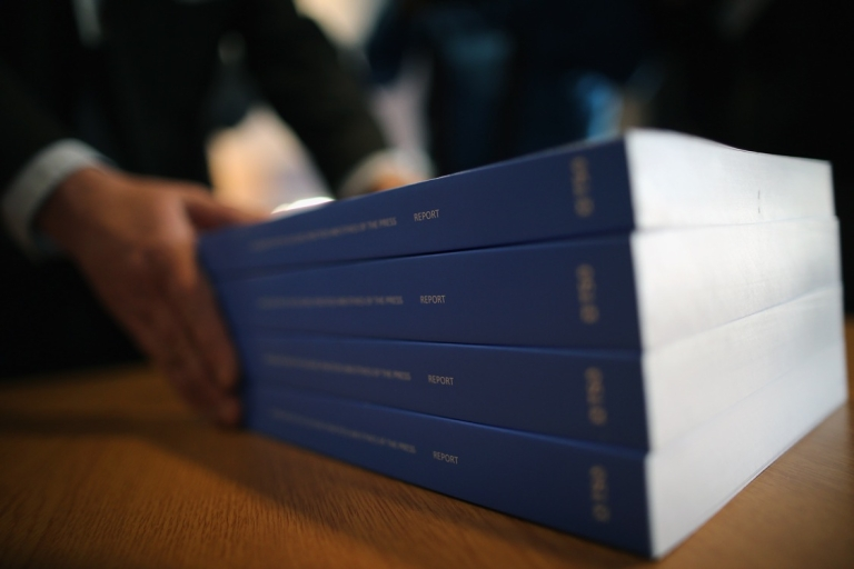 <p>Lord Justice Leveson presents his report on press standards, on Nov. 29, 2012 in London, England.</p>