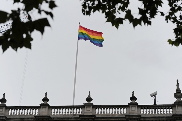 <p>The rainbow flag, symbolising gay pride, flies above the Cabinet Office in central London, on July 6, 2012. The British government on Friday hoisted the rainbow flag symbolising gay pride over one of its ministries for the first time. Deputy Prime Minister Nick Clegg requested the flag be flown on Whitehall, the central London street that houses several ministries, ahead of the World Pride parade celebrating gay rights in the British capital on Saturday.</p>