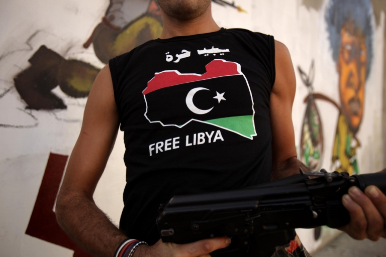 <p>A Libyan rebel in Tripoli on Sept. 1, 2011.</p>