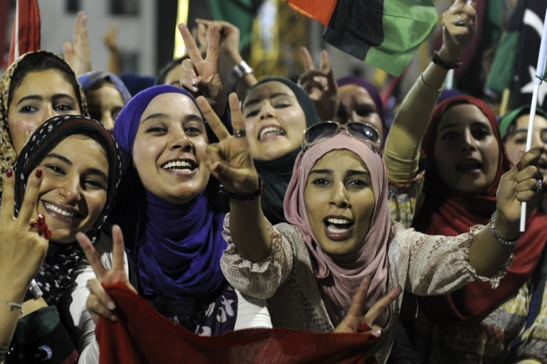 <p>Libyan women celebrate at Martyrs Square in Tripoli on September 1, 2011.</p>