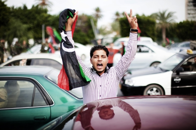 <p>Celebrations in Tripoli after reports claimed Muammar Gaddafi had been captured and killed in Sirte on Thursday.</p>
