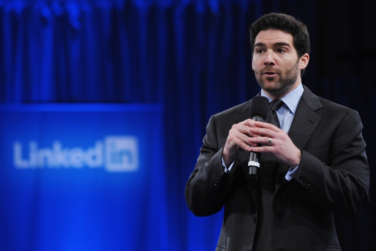 <p>Linkedin CEO Jeff Weiner speaks as he introduces US President Barack Obama during a Linkedin town hall meeting at the Computer History Museum Sept. 26, 2011, in Mountain View, Calif.</p>
