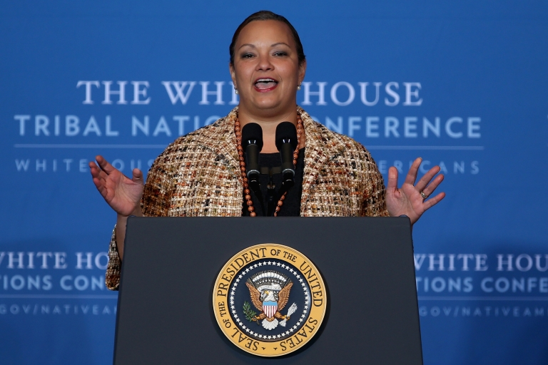 <p>Environmental Protection Agency Administrator Lisa Jackson addresses the White House Tribal Nations Conference at the Department of Interior in Washington, DC, on Dec. 5, 2012.</p>