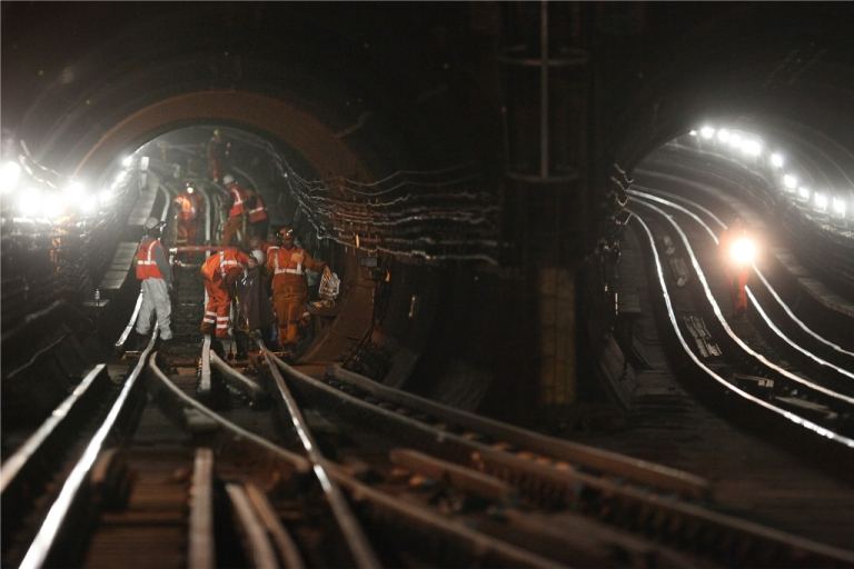 <p>The London Underground during modernization work Nov. 18, 2008. The system now celebrates its 150th anniversary.</p>