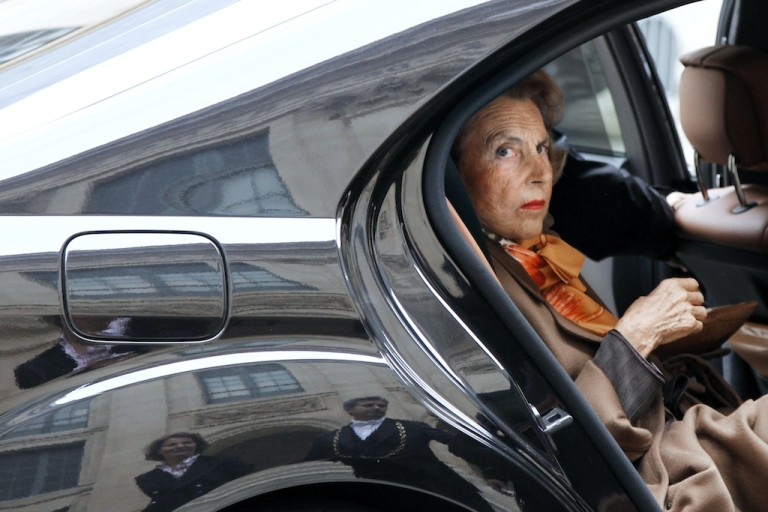 <p>French billionaire L'Oreal heiress Liliane Bettencourt arrives by car at the Institut de France on Oct. 12, 2011 in Paris.</p>