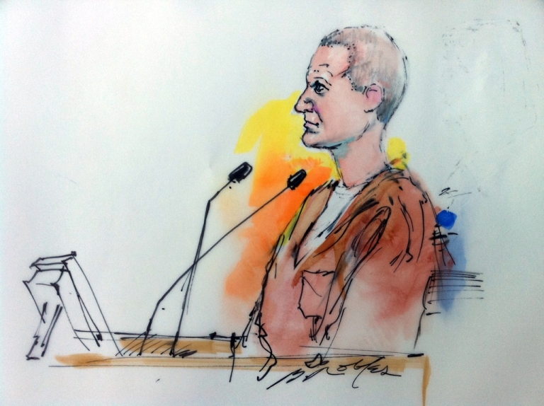 <p>This courtroom drawing shows shooting suspect Jared Lee Loughner in court on January 10, 2011 in Tuscon, Arizona.</p>