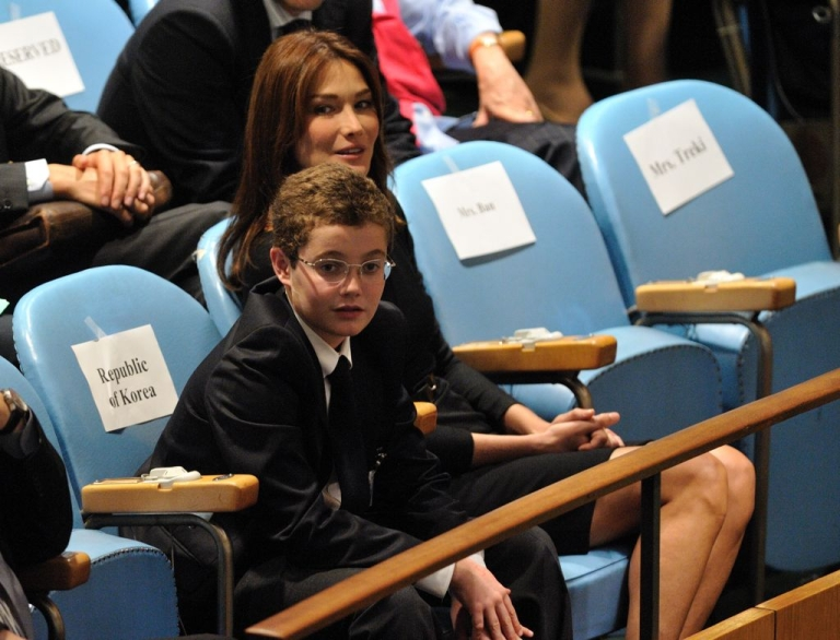 <p>Louis Sarkozy with his stepmother, Carla Bruni, at the UN general assembly on September 23, 2009.</p>