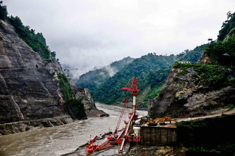 <p>The Lower Subansiri Dam project is under construction in northeast India. The dam is expected to supply a 2,000 megawatt power station with water when completed in 2014. If all goes as planned, it will be the largest hydroelectric project in India.</p>