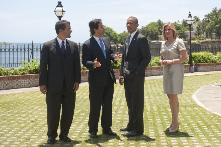 <p>Puerto Rican first lady Luce Velo (R) and her husband, Puerto Rico Governor Luis Fortuno, give President Barack Obama a tour of La Fortaleza, the oldest governor's mansion in the Western Hemisphere, during Obama's visit to San Juan, Puerto Rico, June 14, 2011.</p>