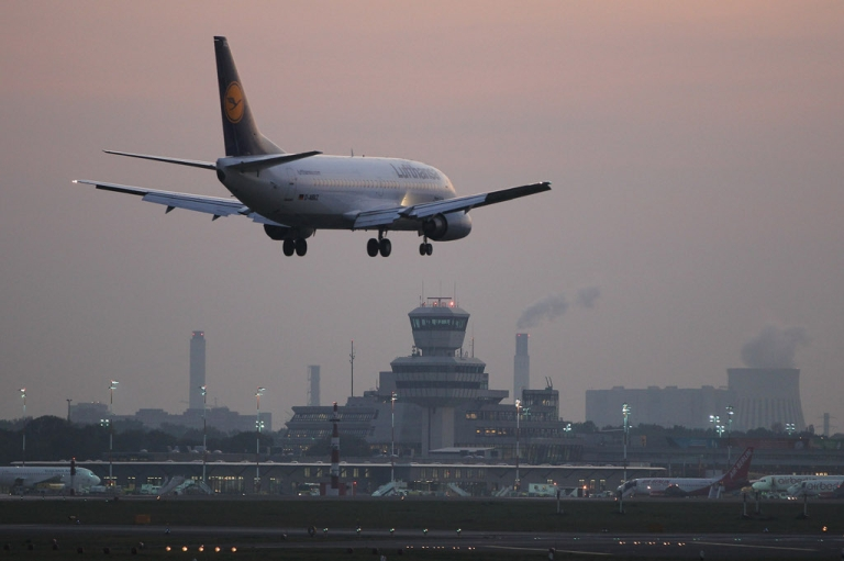 <p>A Lufthansa passenger plane arrives at Tegel Airport in Berlin, Germany.</p>