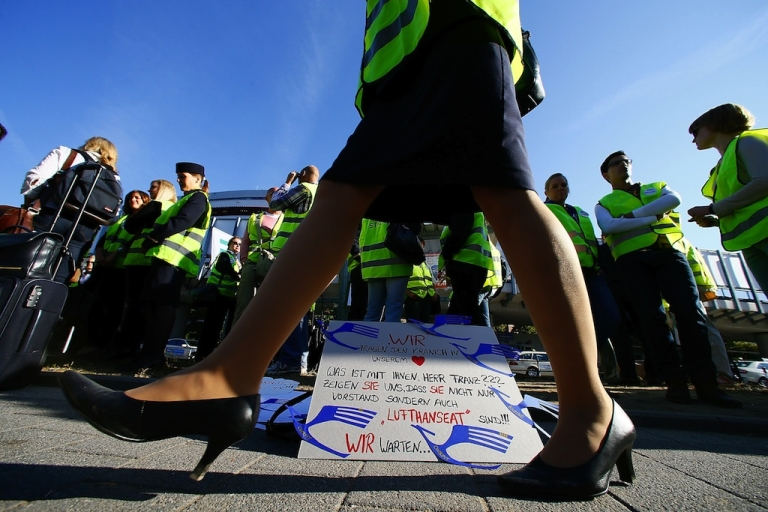 <p>Lufthansa cabin crew members stage a protest at the Frankfurt Rhein-Main Airport on September 7, 2012. Cabin crew walked off the job at midnight Thursday, forcing the airline to cancel hundreds of flights.</p>