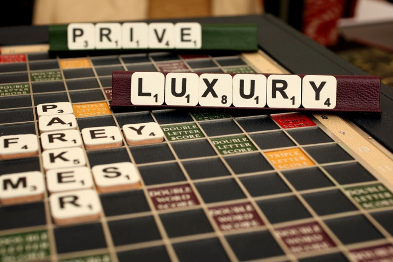 <p>A leather-bound Scrabble board awaits buyers at Geoffrey Parker Games in London, England.</p>