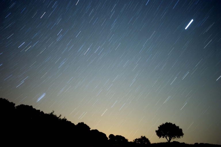 <p>A meteoroid streaks across the sky against a field of stars during a meteor shower early Aug. 13, 2010, near Grazalema, Spain.</p>