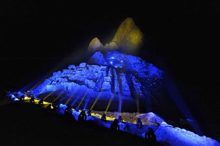 <p>The ruins of the Inca citadel of Machu Picchu are lit with colored light on the evening of July 7, 2011. The complex, which was unknown to Spanish conquerors, is now visited by up to 250,000 people a year.</p>