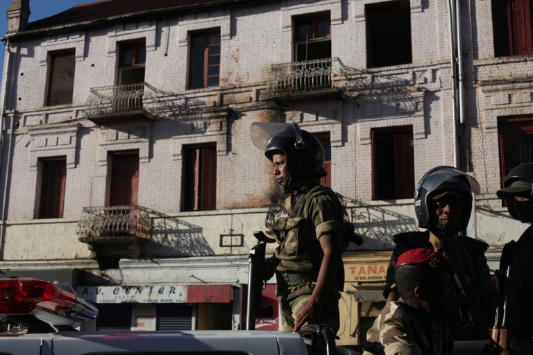 <p>Security forces stand guard in the center of Antananrivo, Madagascar, on May 19, 2012, after 3000 to 5000 people gathered in the city center for a demonstration called by the main opposition radio, Free FM. The police violently dispersed the non-authorised protest and arrested several people.</p>