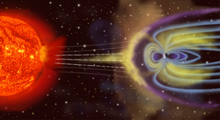 <p>An artist's impression of how the Earth's magnetic field shields us from particles released from the Sun. Solar storms can disrupt this field.</p>