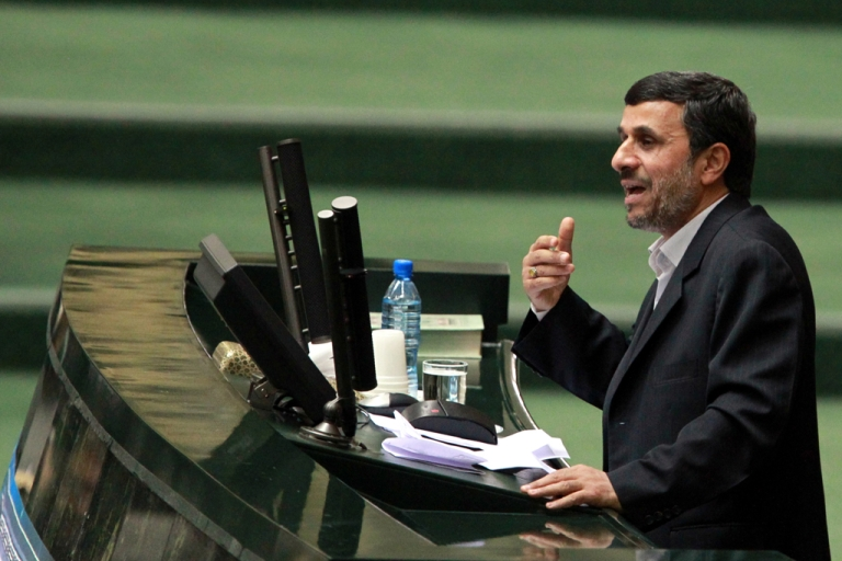 <p>Iranian President Mahmoud Ahmadinejad addresses parliament in Tehran, Feb. 1, 2012.</p>