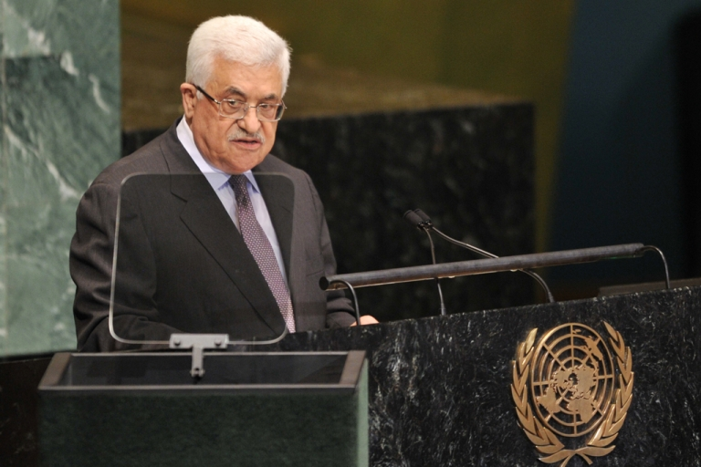 <p>Mahmoud Abbas, President of the Palestinian Authority, speaks during the 67th session of the United Nations General Assembly September 27, 2012 at UN headquarters in New York.</p>